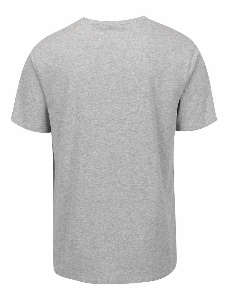 Šedé žíhané pánské triko s potiskem Rip Curl VAn Allover Tee