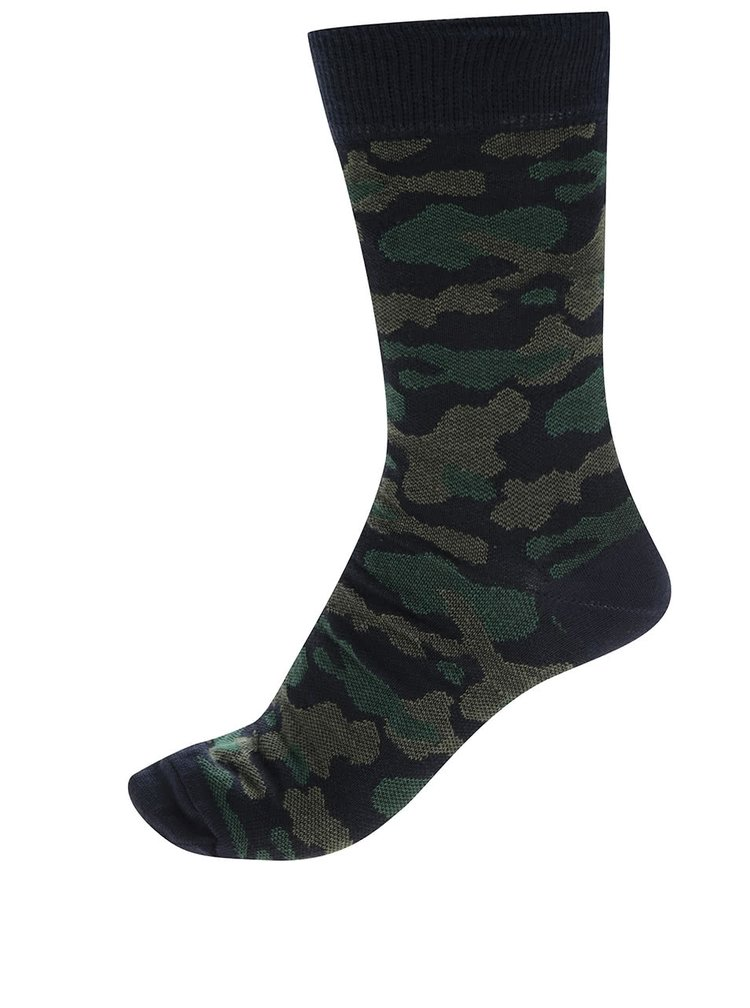 Sada tří páru vzorovaných ponožek v černé a modré barvě Burton Menswear London