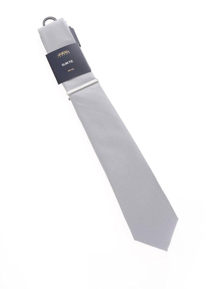 Šedá vzorovaná kravata Burton Menswear London