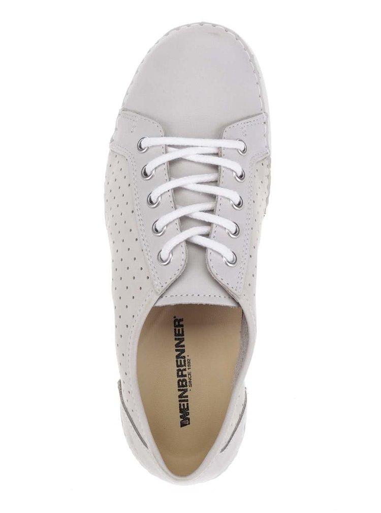 Pantofi crem din piele cu perforatii pentru femei Weinbrenner