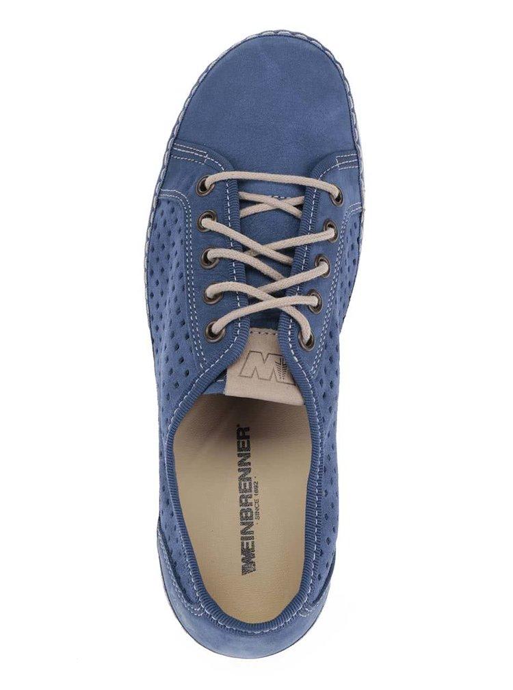 Tmavě modré dámské kožené perforované tenisky Weinbrenner