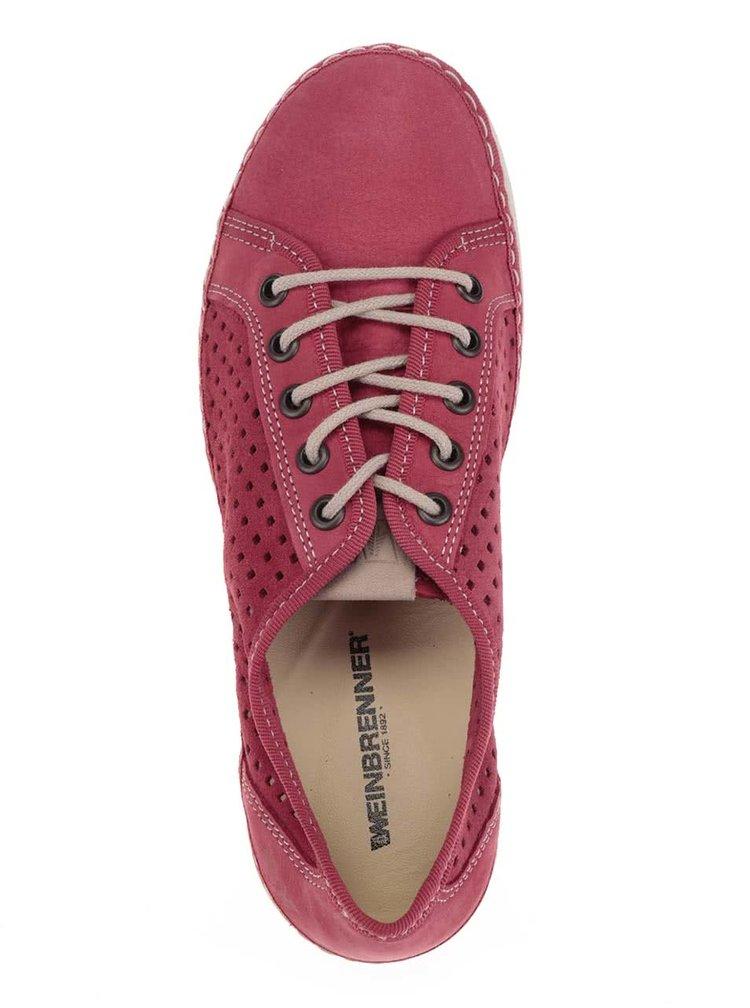 Pantofi rosii din piele cu perforatii pentru femei Weinbrenner