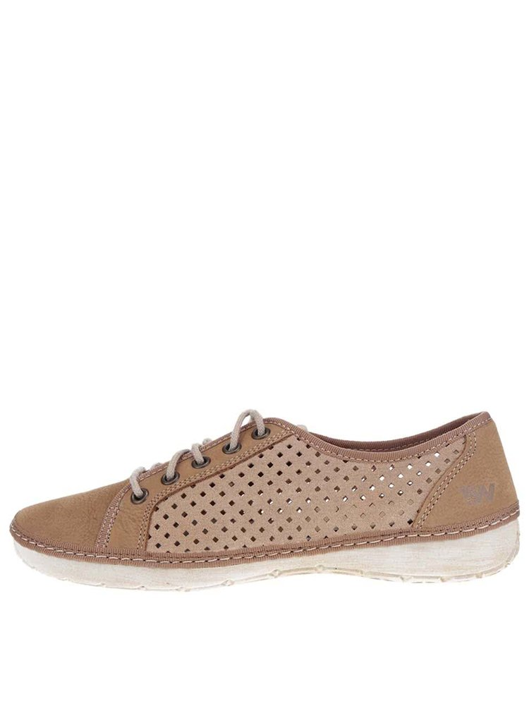 Pantofi casual maro deschis de damă Weinbrenner din piele cu perforații