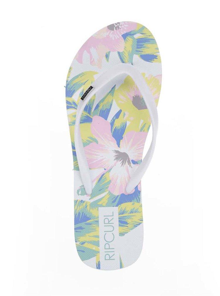 Șlapi albi Rip Curl Flores cu model floral multicolor