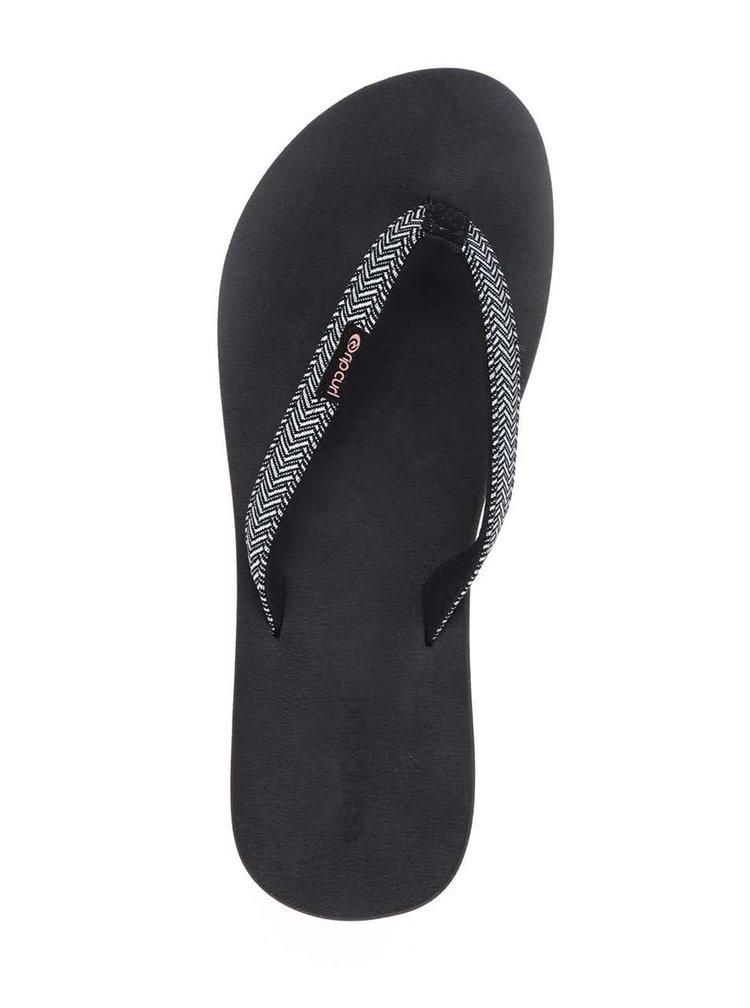 Șlapi negri Rip Curl Freedom cu baretă textilă și model heringbone