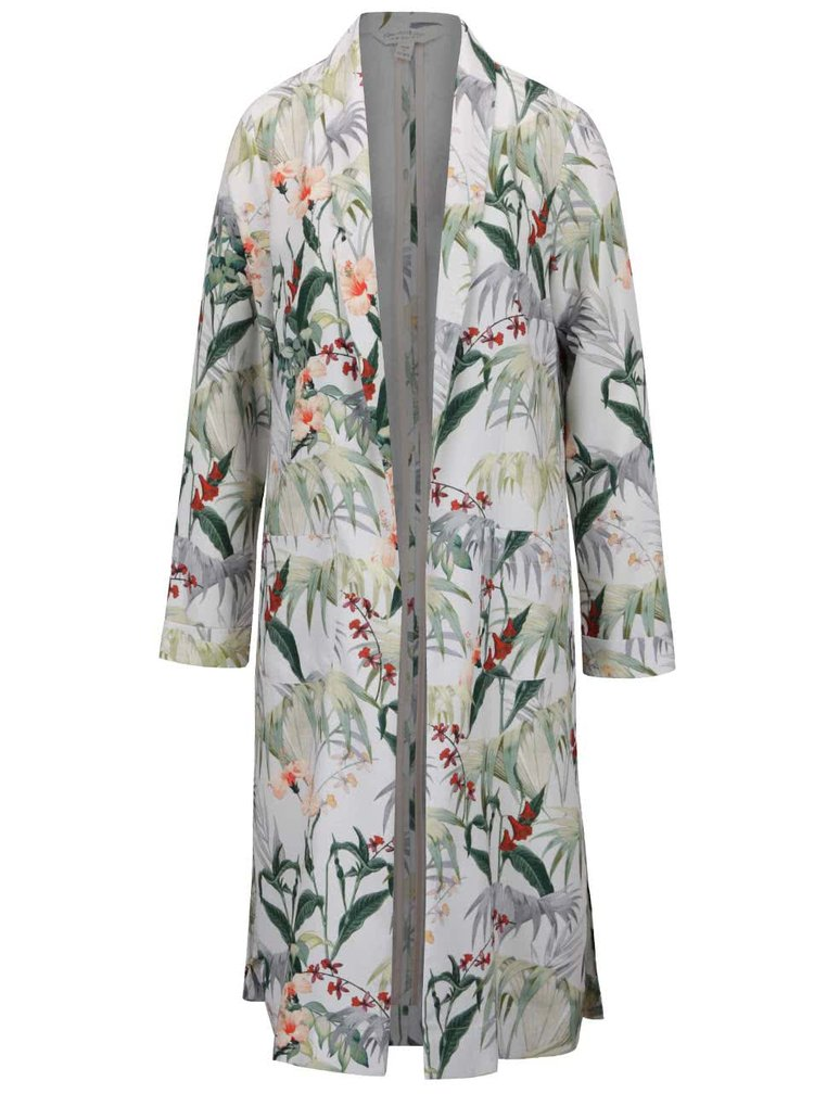 Krémový květovaný lehký kabát Miss Selfridge