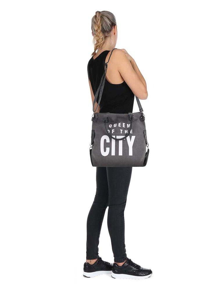 Šedá větší kabelka s potiskem Haily´s Tasche City