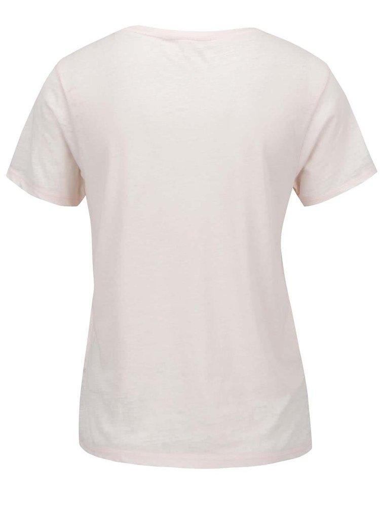 Světle růžové tričko s potiskem Miss Selfridge