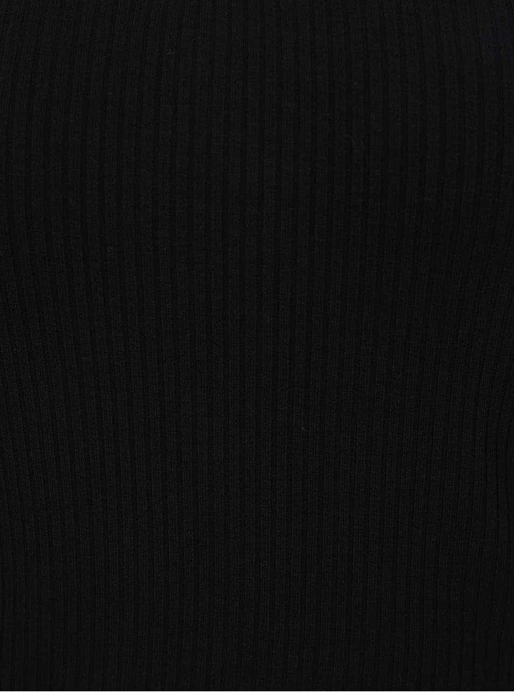 Černý crop top s průstřihem v dekoltu Miss Selfridge