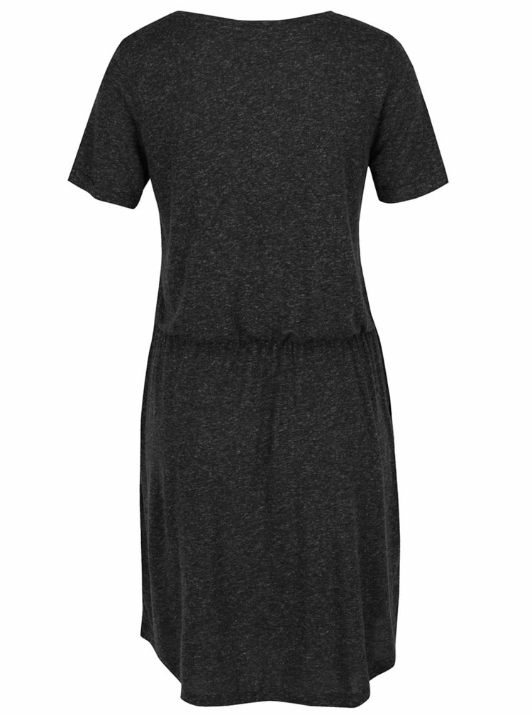 Tmavě šedé žíhané šaty s příměsí lnu VERO MODA Lua