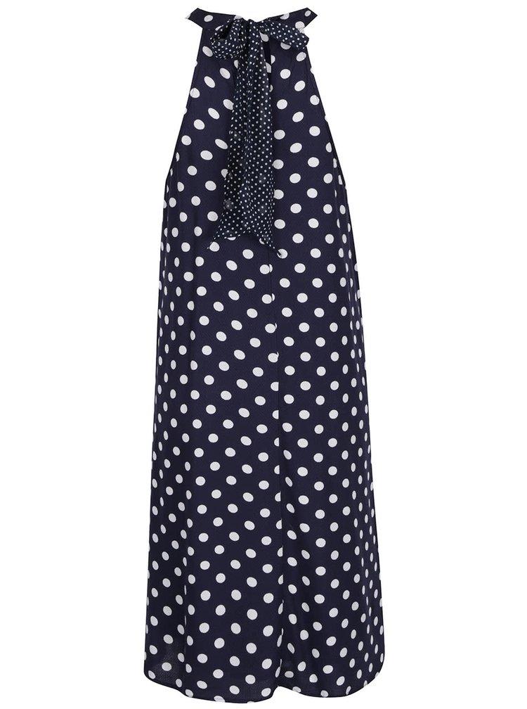 Tmavě modré volné šaty s mašlí za krk VERO MODA Sally