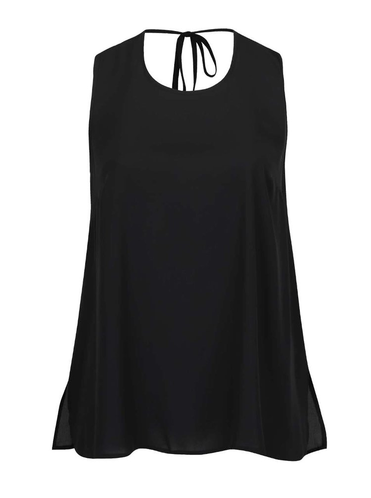 Bluză neagră fără mâneci Dorothy Perkins Curve cu decupaj în V