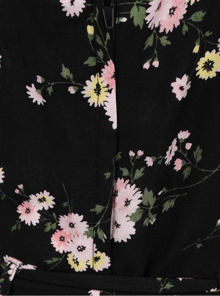 Salopetă neagră Dorothy Perkins Petite cu imprimeu floral