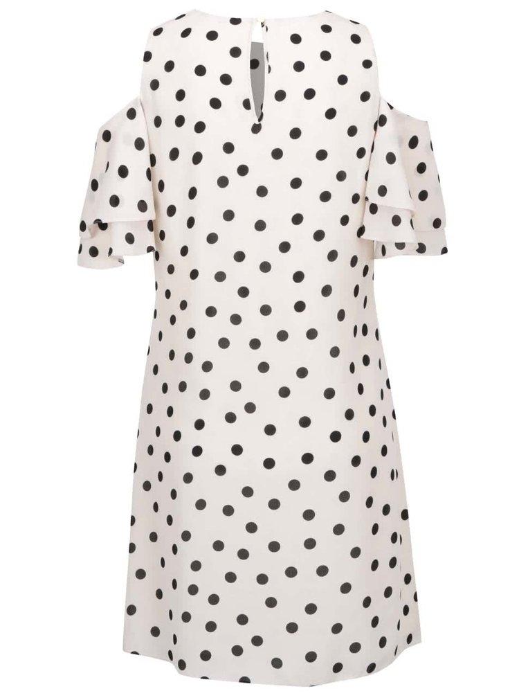 Béžové puntíkované šaty s průstřihy Dorothy Perkins