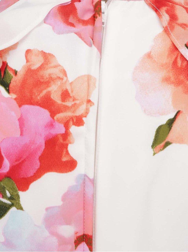 Rochie maxi crem Dorothy Perkins cu model floral si decupaje la nivelul umerilor