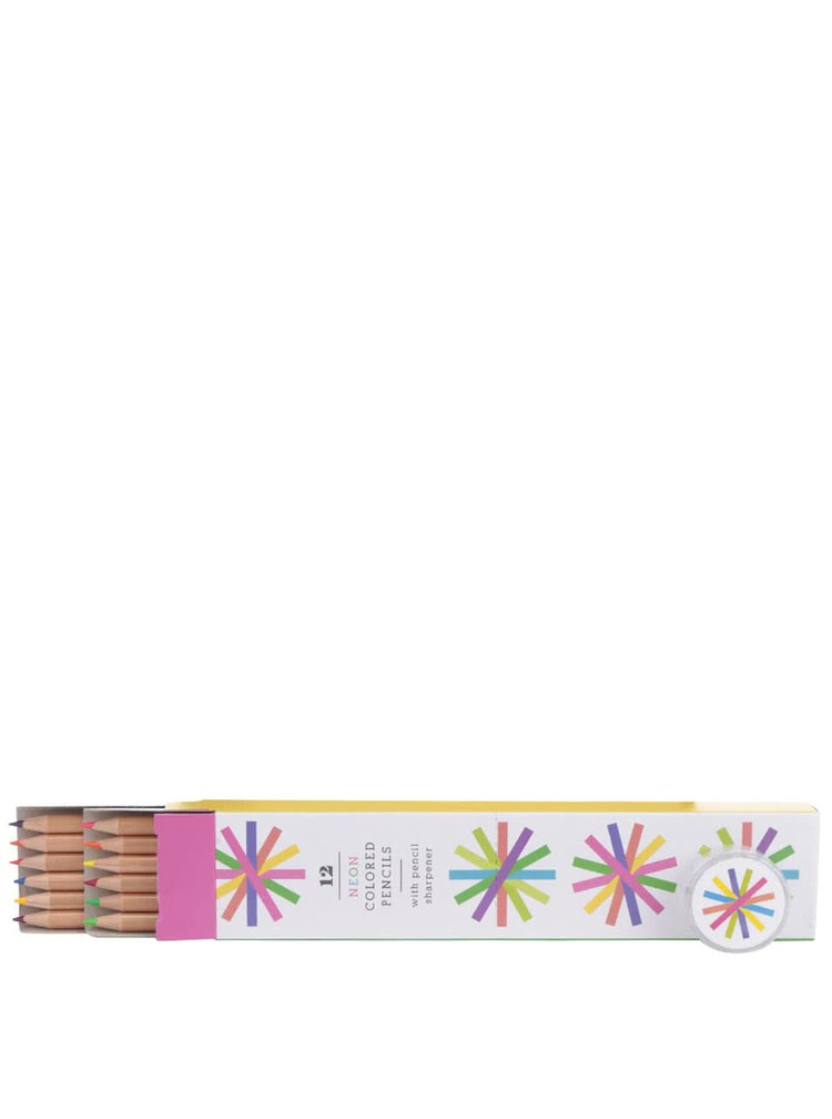 Set dvanácti pastelek neonových barev a ořezávátka Galison