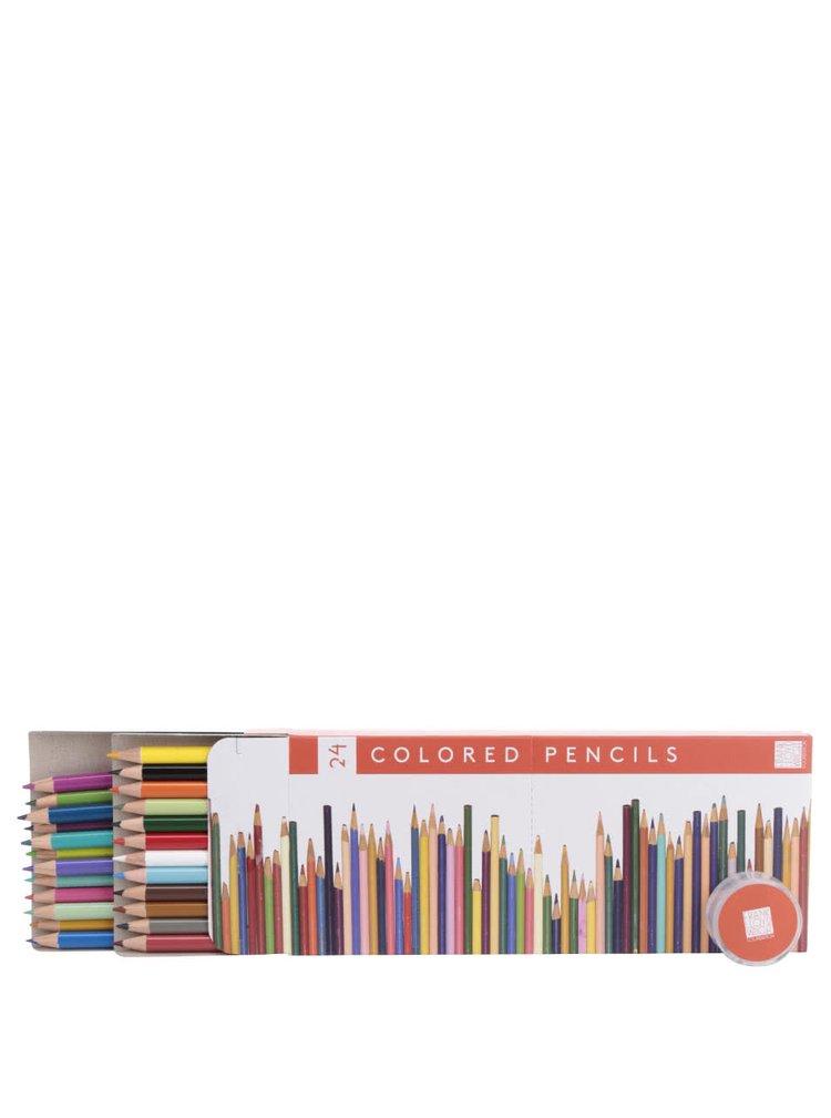 Set dvaceti čtyř barevných pastelek a ořezávátka Galison