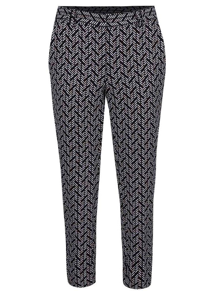 Krémovo-černé zkrácené vzorované kalhoty Dorothy Perkins