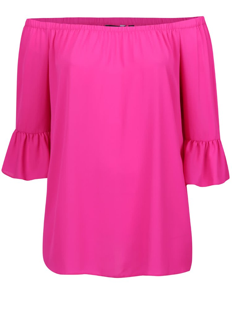 Růžová volná halenka s odhalenými rameny Dorothy Perkins Curve