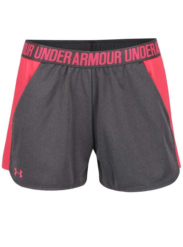 Růžovo-šedé dámské funkční kraťasy Under Armour UA Play Up