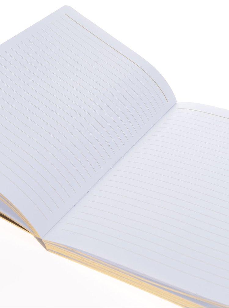 Vzorovaný linkovaný zápisník v bílo-zlaté barvě Galison A5