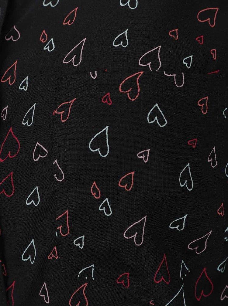 Černá košile s motivy barevných srdíček TALLY WEiJL