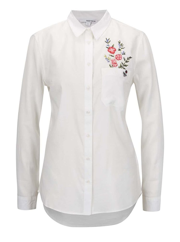 Krémová košile s výšivkou TALLY WEiJL
