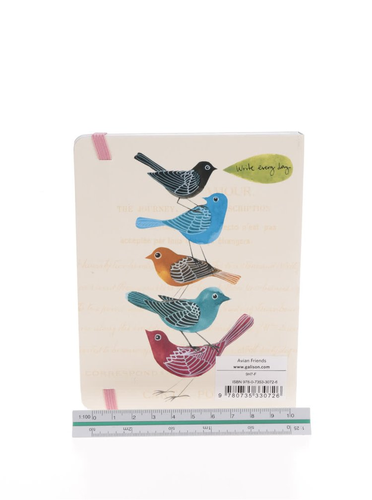 Krémový plánovací diář s motivem ptáčků Galison A6