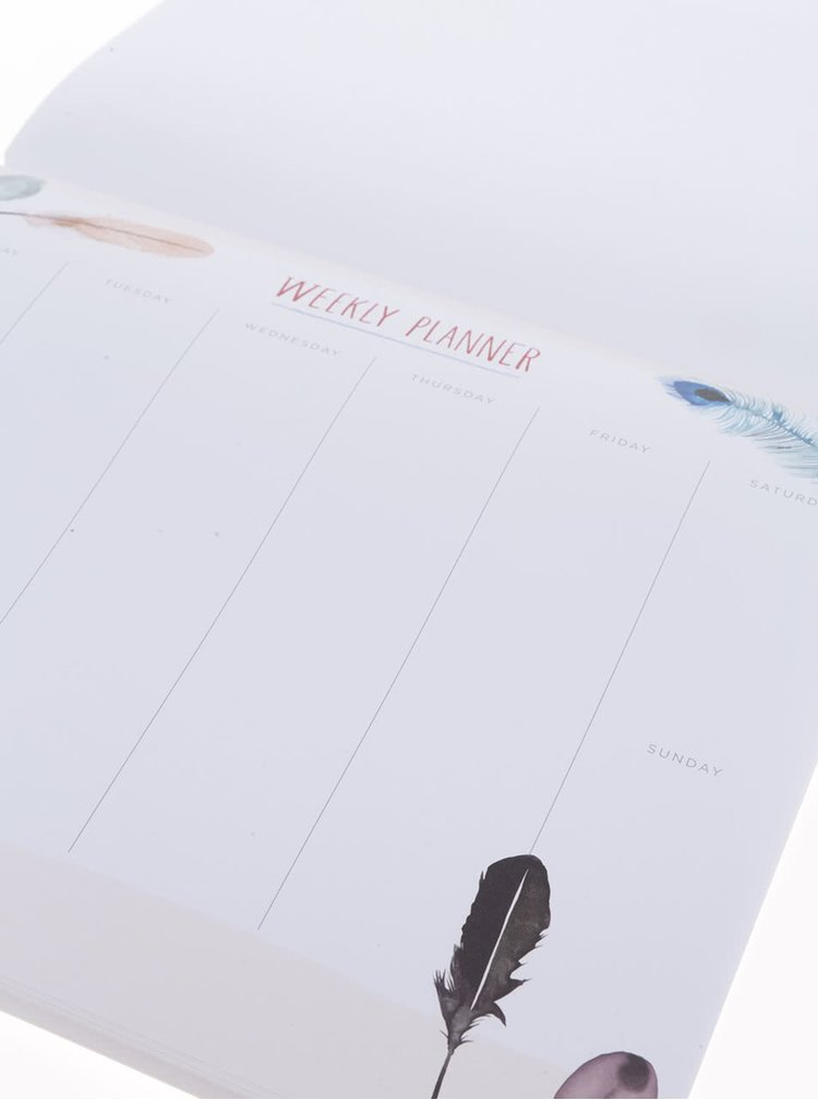 Bílý týdenní plánovací blok/podložka pod myš Galison