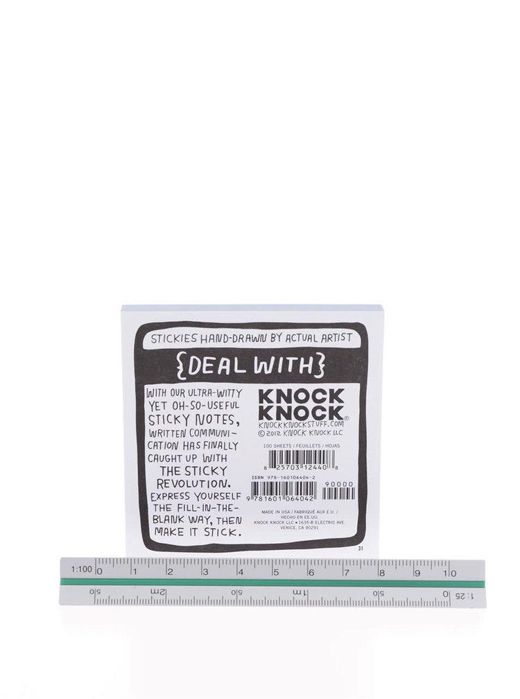 Bílo-modré samolepící papírky Knock Knock