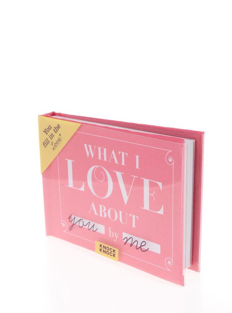 Carnet roz Knock Knock cu spatiere pentru personalizare