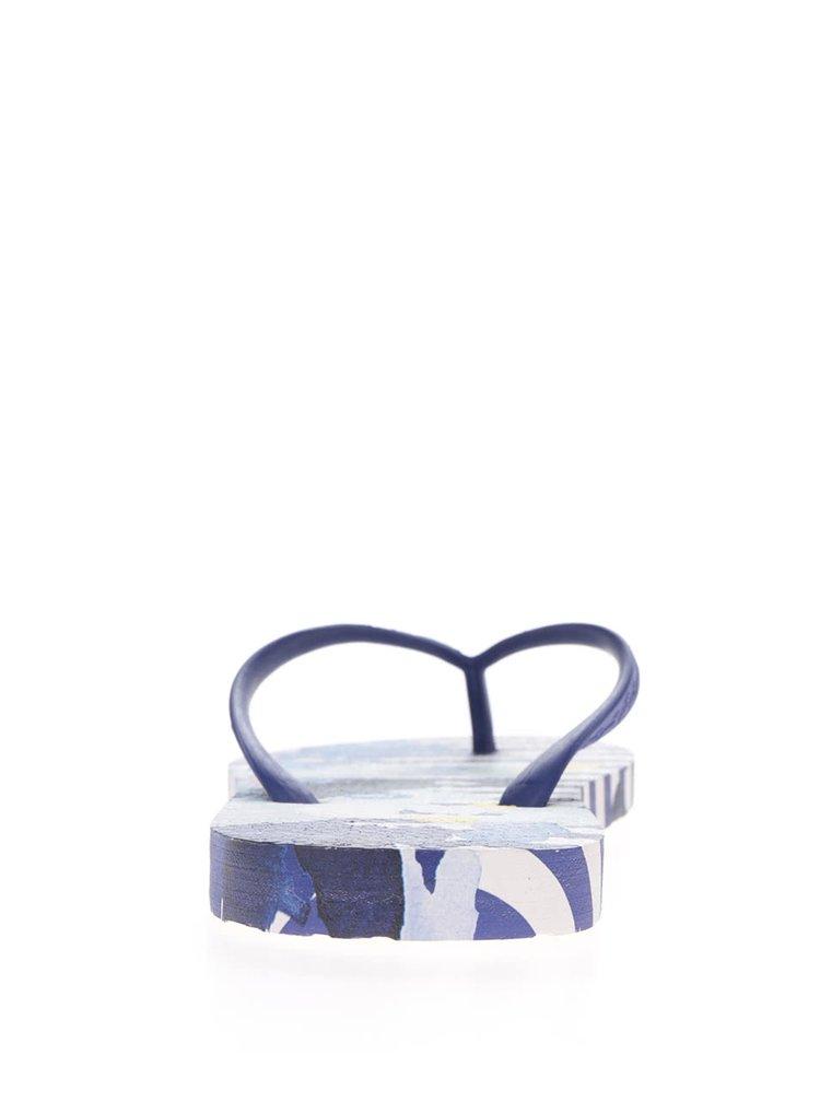 Bílo-modré dámské pruhované žabky Tom Joule