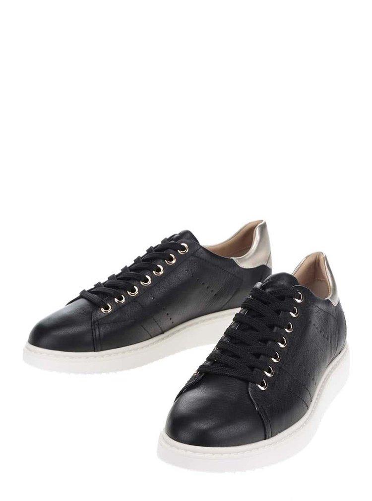 Pantofi sport negri Geox Thymar cu detalii aurii