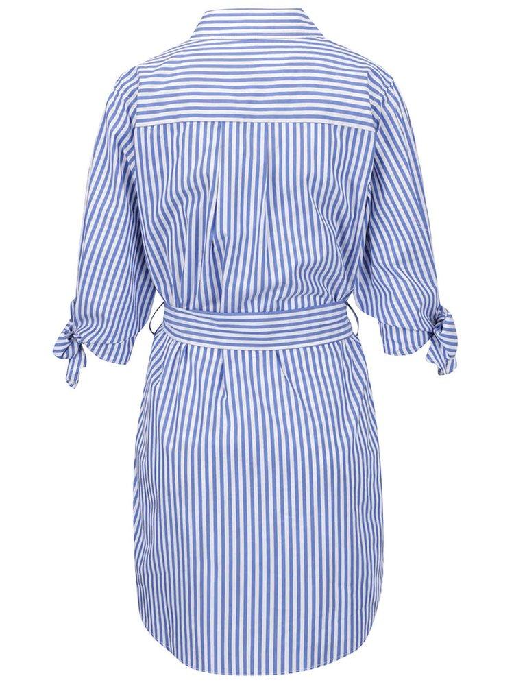 Rochie tip cămașă albastră Apricot cu panglici în talie