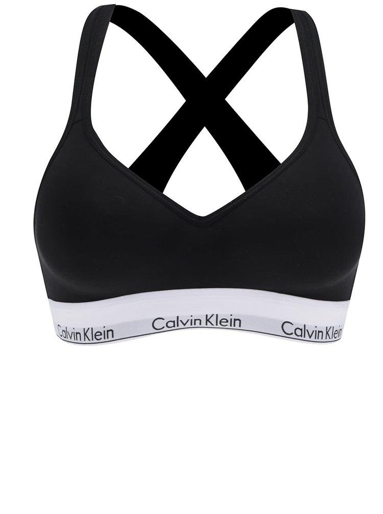 Černá sportovní podprsenka s bílým lemem Calvin Klein Underwear
