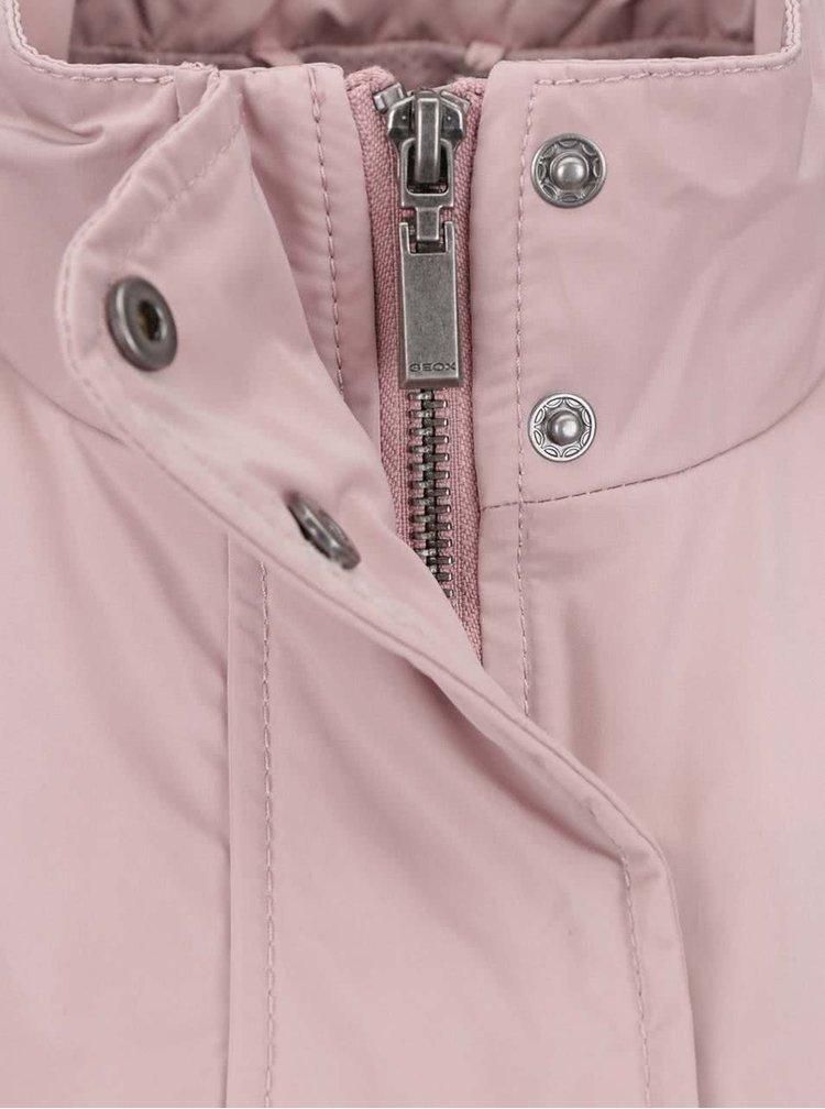 Jachetă roz impermeabilă Geox cu guler înalt