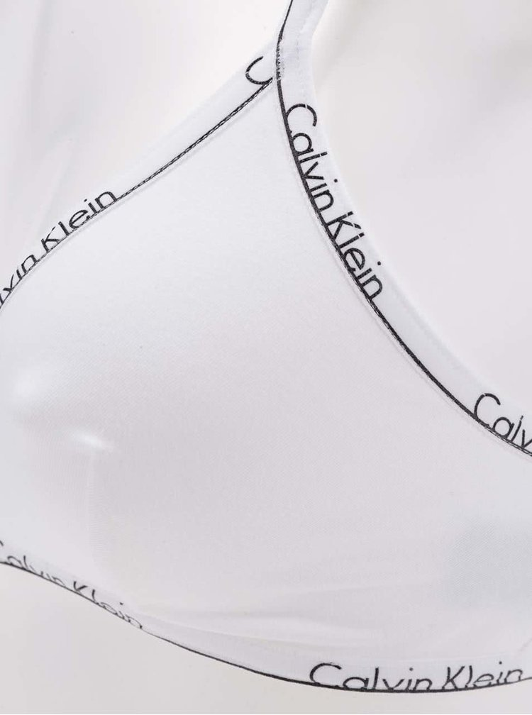 Sutien alb cu print logo Calvin Klein