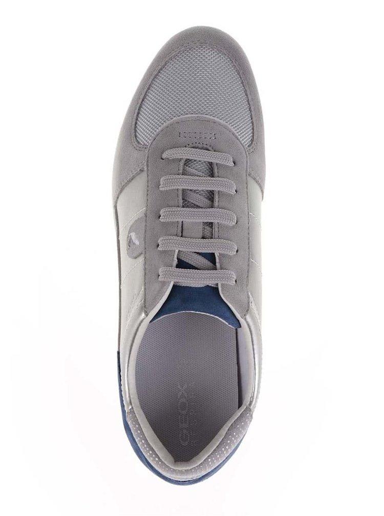 Pantofi sport gri Geox Avery cu detalii in piele întoarsă