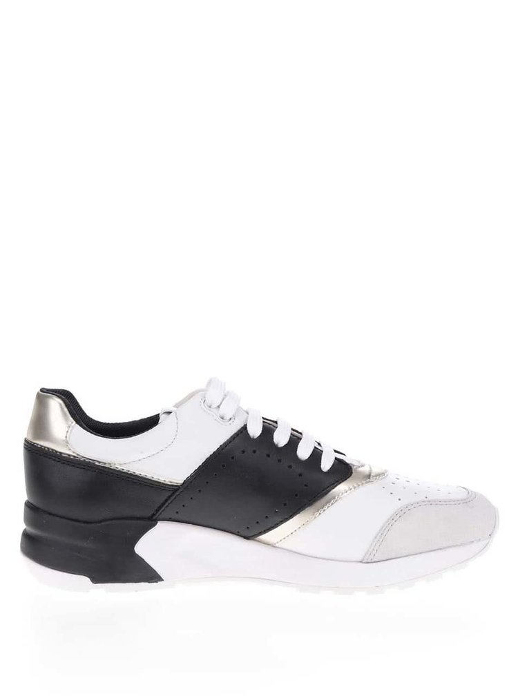 Pantofi sport alb & negru Geox Phyteam cu detaliu auriu