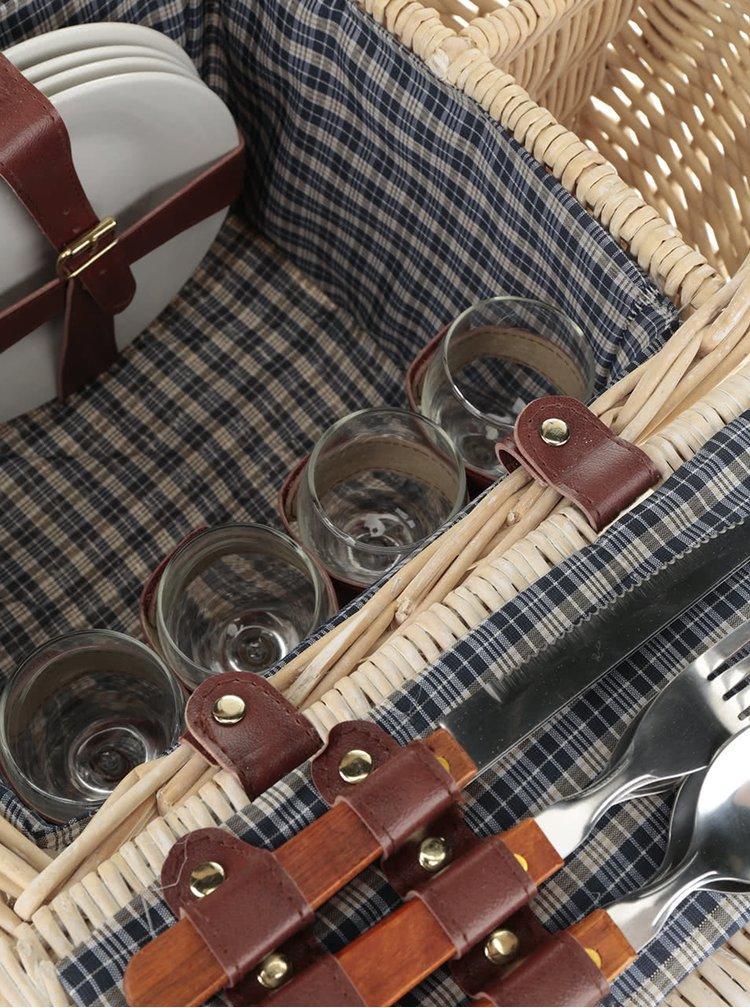 Béžový malý proutěný piknikový koš pro 4 osoby Dakls