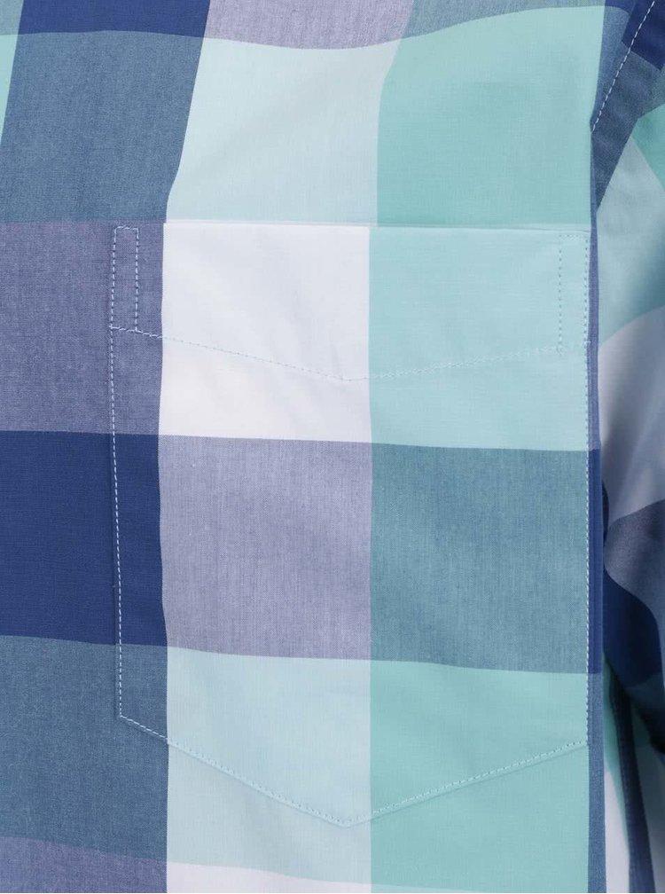 Camasa verde & albastru JP 1880 din bumbac cu maneci scurte si model in carouri