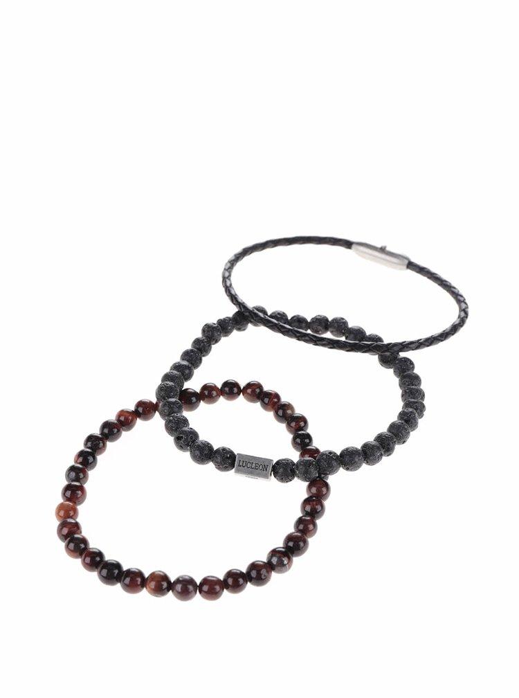 Set de 3 brățări negru & maro Lucleon Living