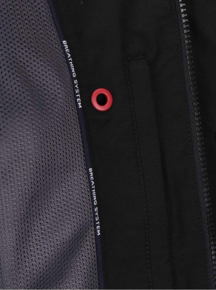 Jachetă neagră Geox cu guler înalt și glugă ascunsă