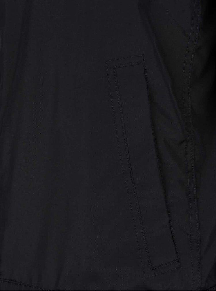 Jachetă neagră impermeabilă Geox cu  glugă ascunsă