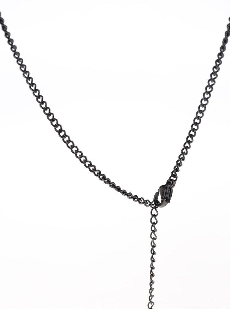 Lantisor negru Lucelon cu pandantiv in forma de ancora