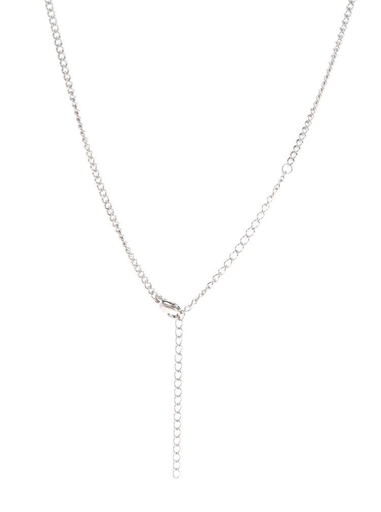 Pánský řetízek s přívěskem ve tvaru kotvy ve stříbrné barvě Lucleon