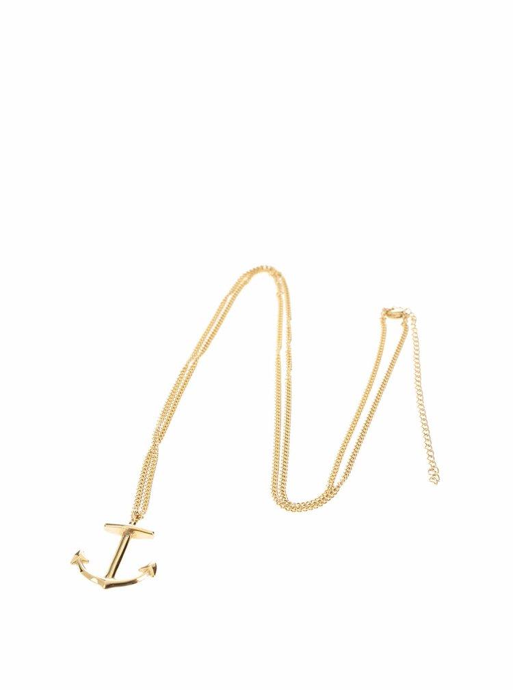 Pánský řetízek s přívěskem ve tvaru kotvy ve zlaté barvě Lucleon