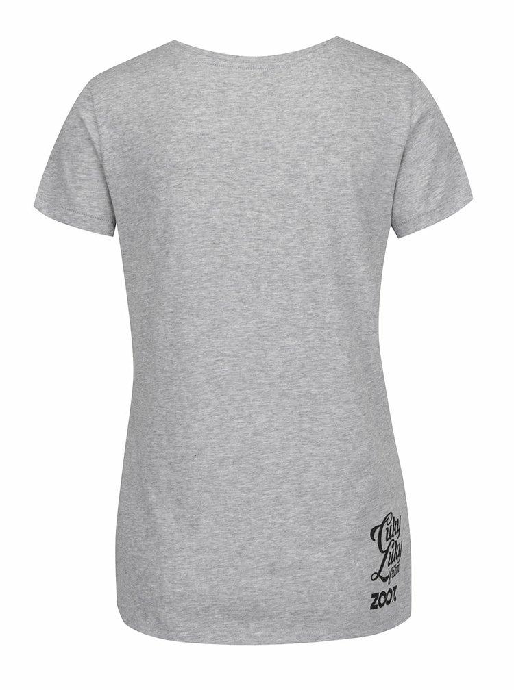 Sivé dámske tričko s potlačou kačičiek Cuky Luky film