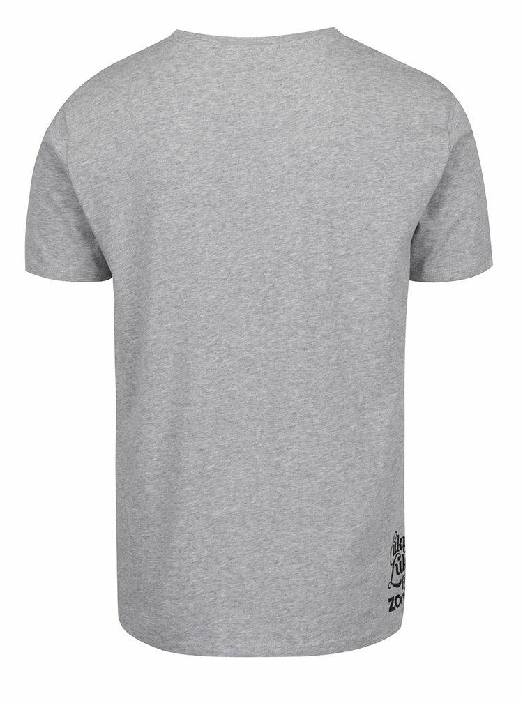 Šedé pánské tričko s potiskem kačenek Cuky Luky film