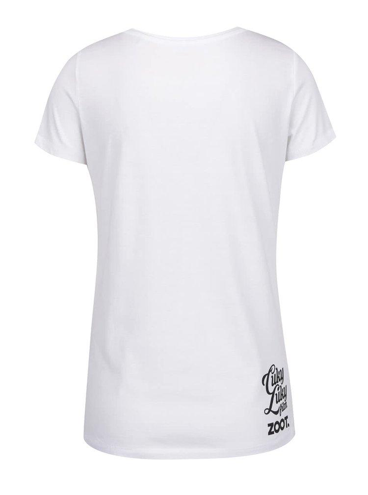 Biele dámske tričko s potlačou lodičiek Cuky Luky film